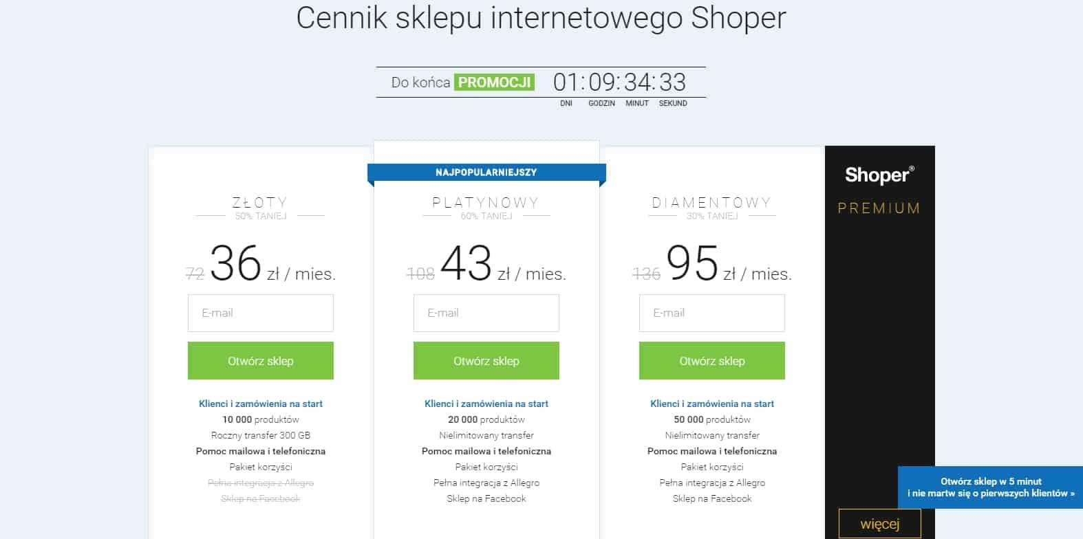 8b9a4bdacf577 ... sklepów internetowych (limit do 50000 produktów). W swojej ofercie  Shoper oferuje również sklepy dedykowane z indywidualnie ustalanymi  cennikami.