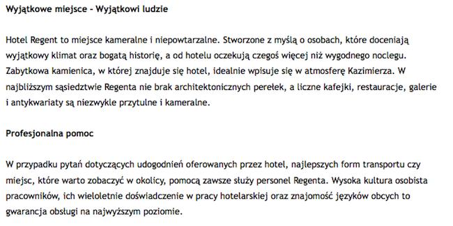 opis firmy przykład hotelu