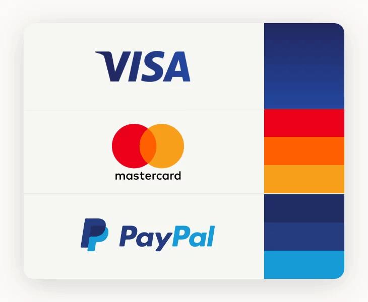 Kolorystyka loga znanych marek Visa, Paypal, Mastercard
