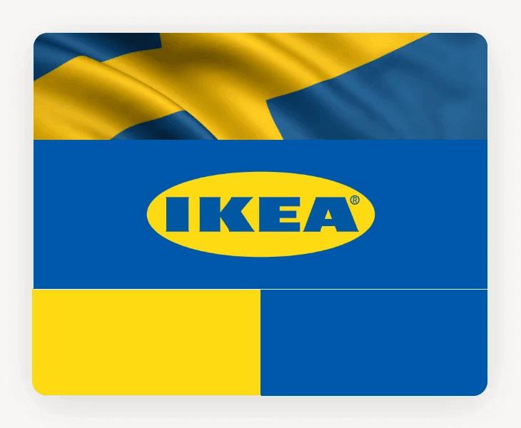 Loga znanych marek - niebiesko-żółty kolor wlogo IKEA