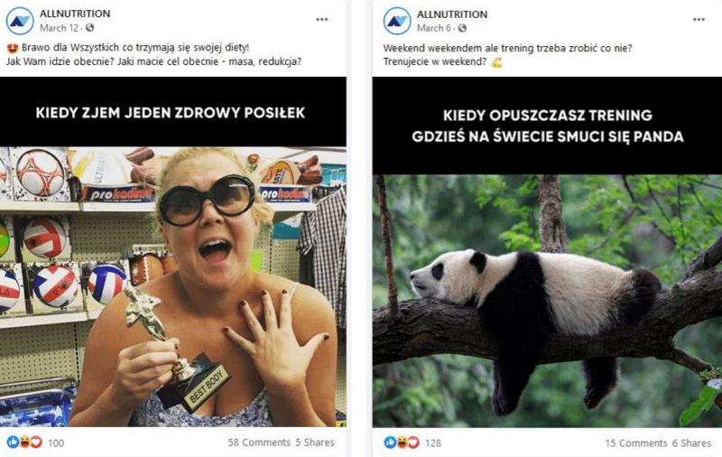 Ciekawe posty naFacebooka marki ALLNUTRITION