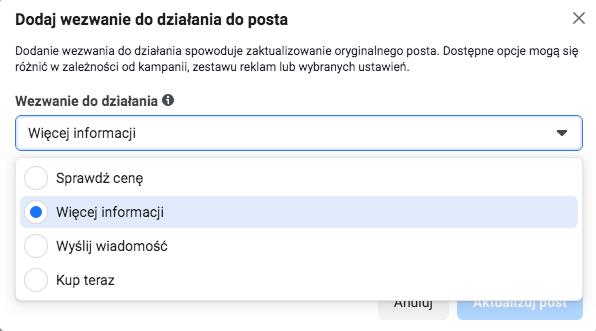 posty naFacebooku zCTA - przykład
