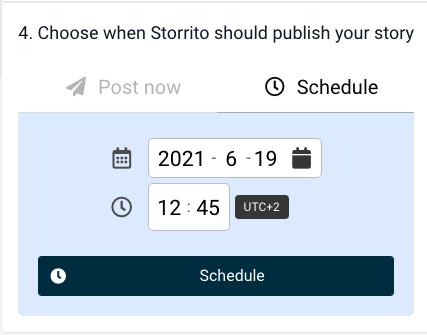 Planowanie relacji naFacebooku waplikacji Storitto - wybór daty igodziny