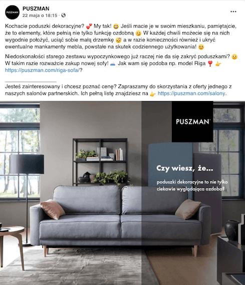 Posty naFacebooku Puszmana - post dający wartość
