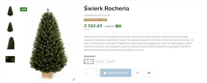 Optymalizacja opisu produktu Rocheria zasortymentu sklepu e-choinki.pl