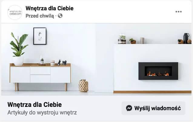 Posty naFacebooku Wnętrza dla Ciebie - posty wyślij wiadomość