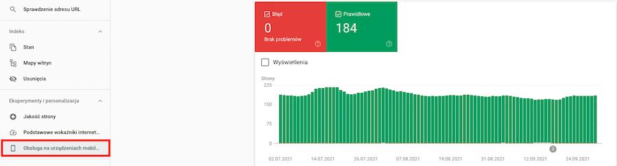 Zakładka Obsługa naurządzeniach mobilnych wnarzędziu Google Search Console